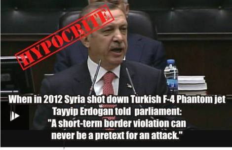Erdogan hyprocrite Russia Su-24 plane downing